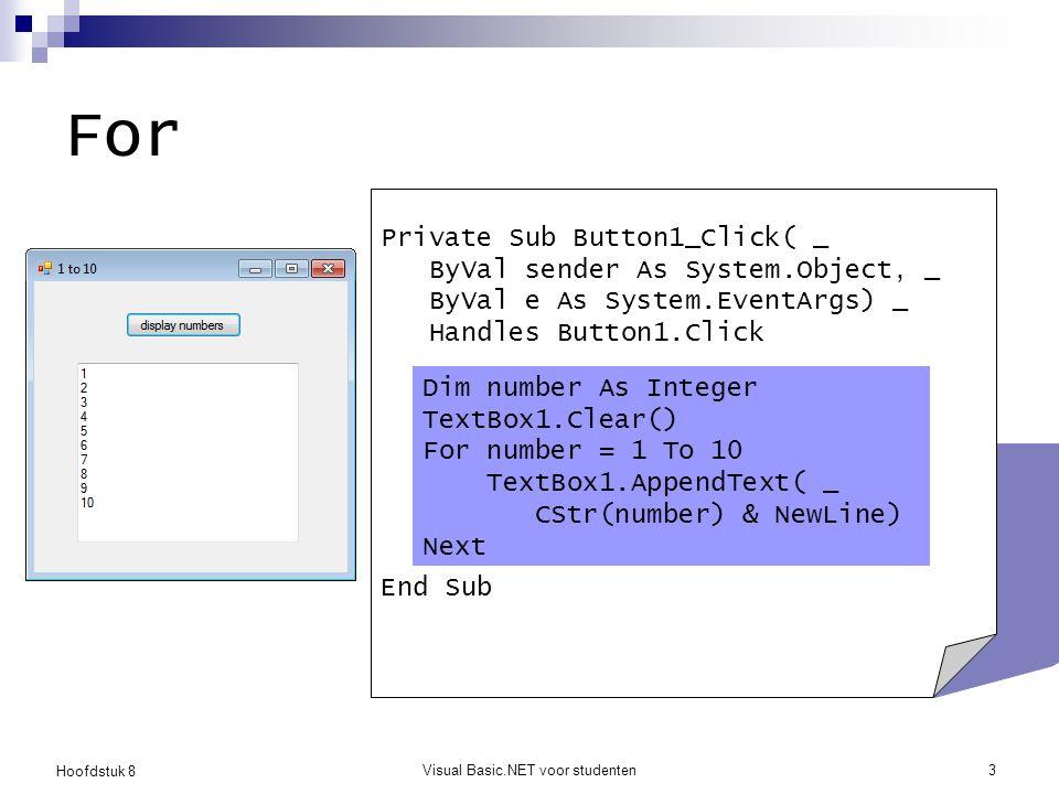Hoofdstuk 8 Visual Basic.NET voor studenten4 For De body van de lus wordt herhaaldelijk uitgevoerd Nieuwe methoden  TextBox1.Clear()  TextBox1.AppendText(…) Nieuwe properties  NewLine, Tab  Imports Microsoft.VisualBasic.ControlChars  Is ControlChars een namespace of een class.