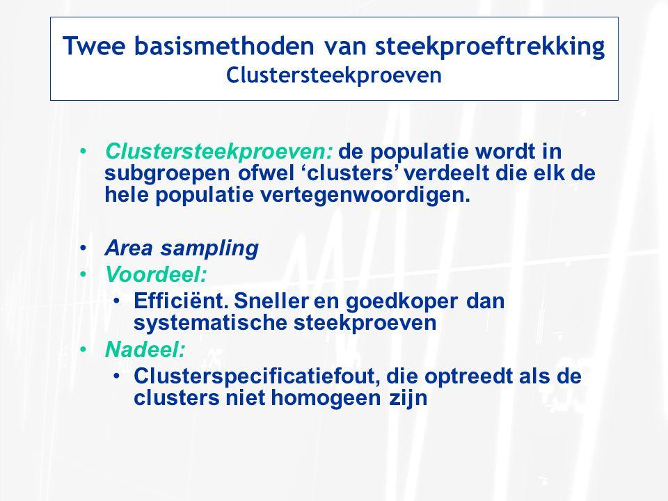 Twee basismethoden van steekproeftrekking Clustersteekproeven Clustersteekproeven: de populatie wordt in subgroepen ofwel 'clusters' verdeelt die elk de hele populatie vertegenwoordigen.