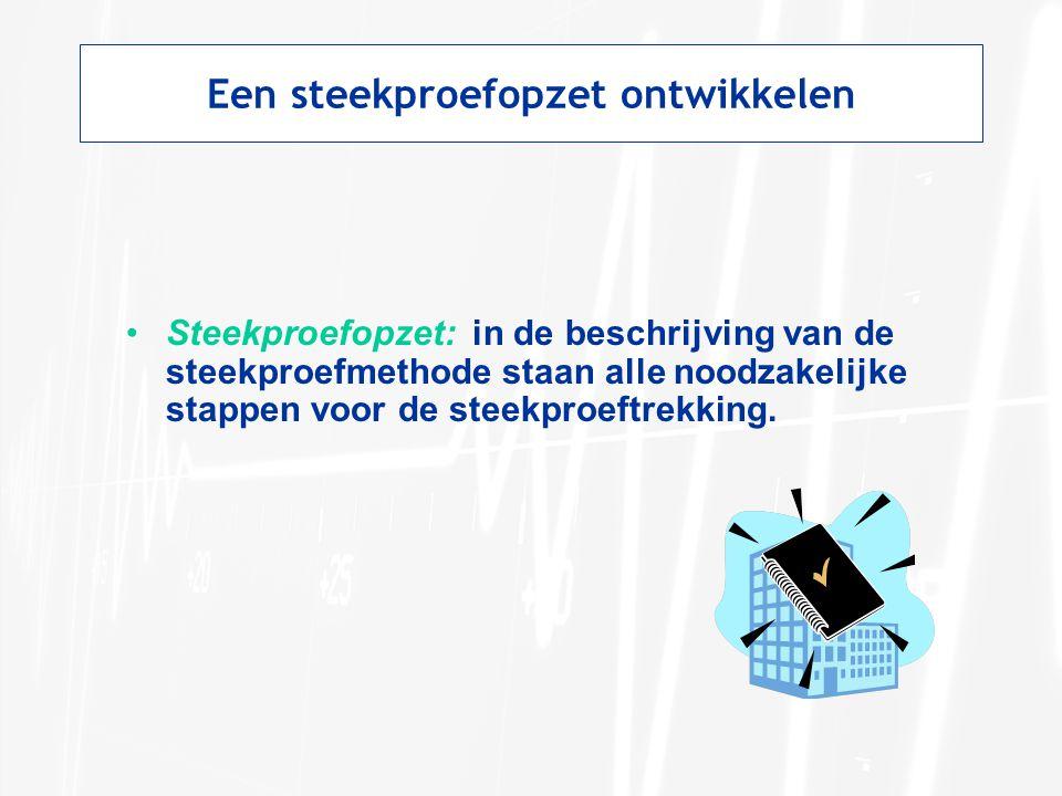 Een steekproefopzet ontwikkelen Steekproefopzet: in de beschrijving van de steekproefmethode staan alle noodzakelijke stappen voor de steekproeftrekking.