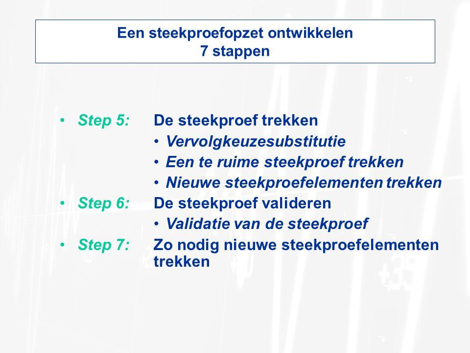 Een steekproefopzet ontwikkelen 7 stappen Step 5:De steekproef trekken Vervolgkeuzesubstitutie Een te ruime steekproef trekken Nieuwe steekproefelementen trekken Step 6:De steekproef valideren Validatie van de steekproef Step 7:Zo nodig nieuwe steekproefelementen trekken