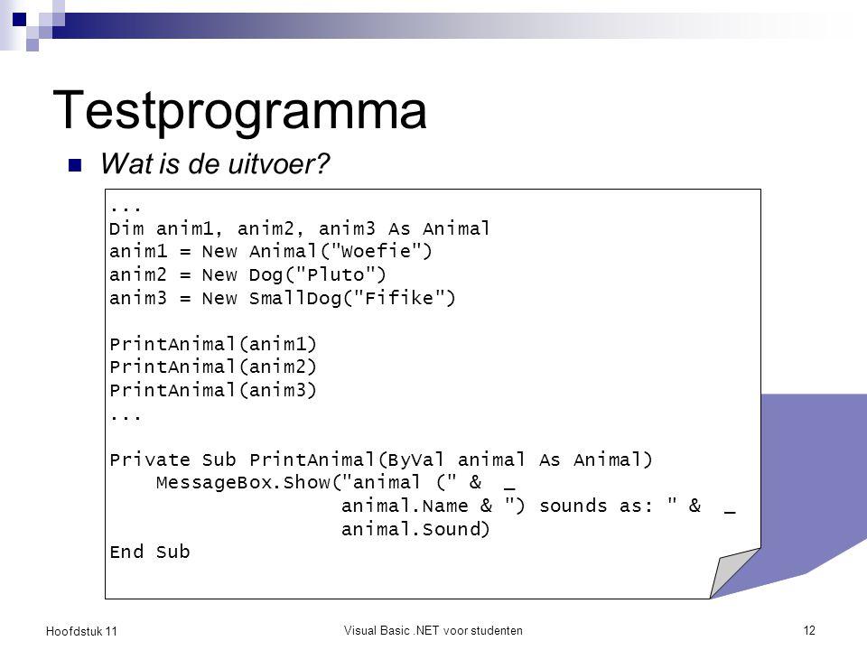 Hoofdstuk 11 Visual Basic.NET voor studenten12 Testprogramma Wat is de uitvoer?... Dim anim1, anim2, anim3 As Animal anim1 = New Animal(