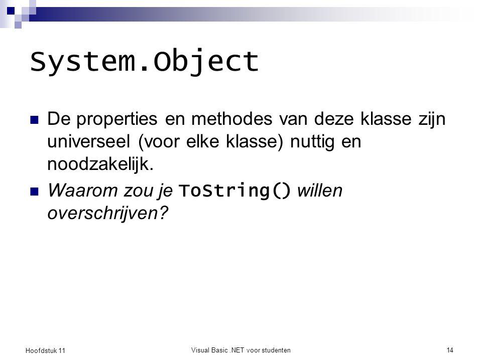 Hoofdstuk 11 Visual Basic.NET voor studenten14 System.Object De properties en methodes van deze klasse zijn universeel (voor elke klasse) nuttig en no
