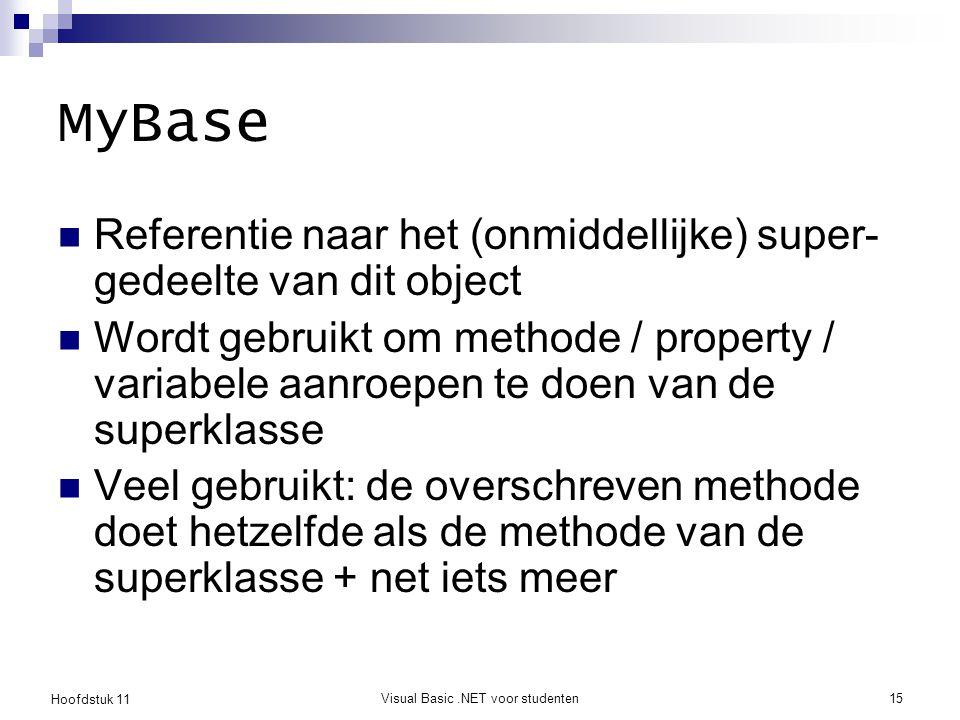 Hoofdstuk 11 Visual Basic.NET voor studenten15 MyBase Referentie naar het (onmiddellijke) super- gedeelte van dit object Wordt gebruikt om methode / p