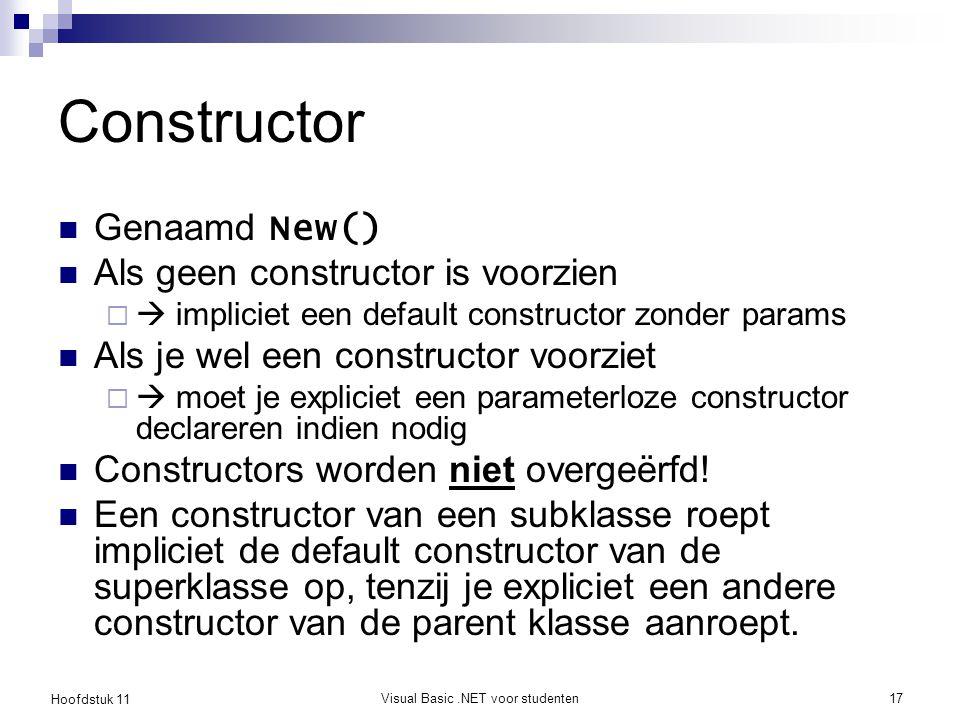 Hoofdstuk 11 Visual Basic.NET voor studenten17 Constructor Genaamd New() Als geen constructor is voorzien   impliciet een default constructor zonder