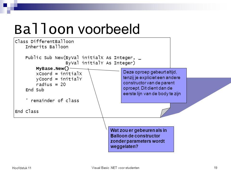 Hoofdstuk 11 Visual Basic.NET voor studenten19 Balloon voorbeeld Class DifferentBalloon Inherits Balloon Public Sub New(ByVal initialX As Integer, _ B
