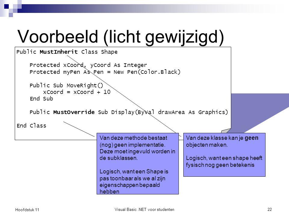 Hoofdstuk 11 Visual Basic.NET voor studenten22 Voorbeeld (licht gewijzigd) Public MustInherit Class Shape Protected xCoord, yCoord As Integer Protecte