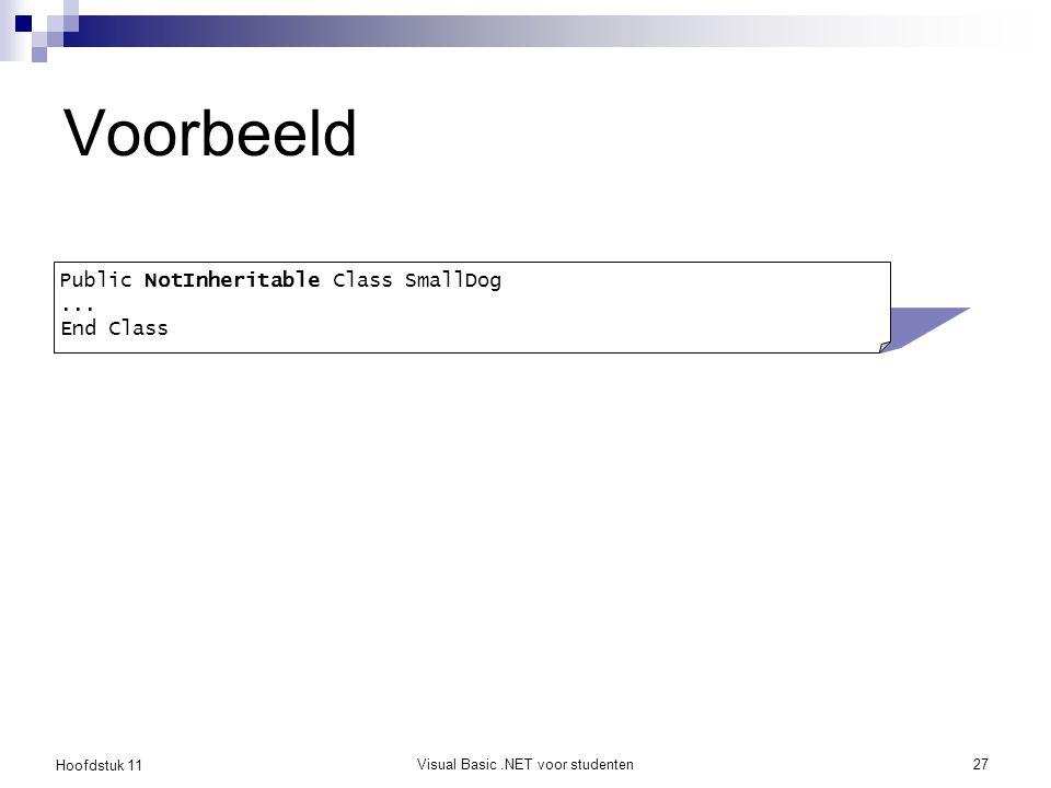 Hoofdstuk 11 Visual Basic.NET voor studenten27 Voorbeeld Public NotInheritable Class SmallDog... End Class
