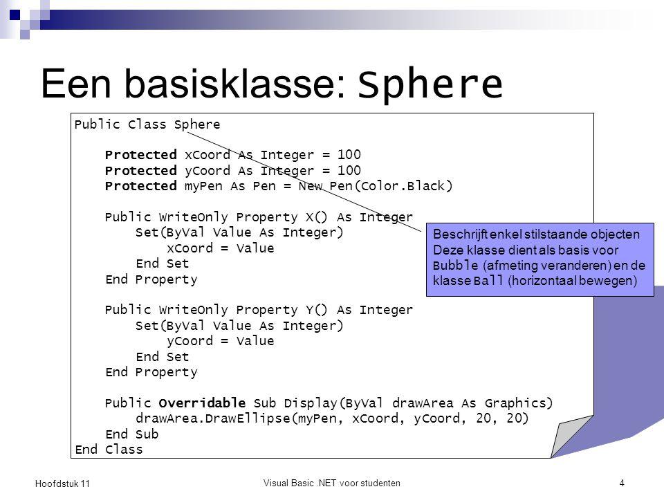 Hoofdstuk 11 Visual Basic.NET voor studenten5 Een subklasse: Bubble Public Class Bubble Inherits Sphere Protected radius As Integer = 10 Public WriteOnly Property Size() As Integer Set (ByVal value As Integer) radius = value End Set End Property Public Overrides Sub Display(ByVal drawArea As Graphics) drawArea.DrawEllipse(myPen, xCoord, yCoord, _ 2 * radius, 2 * radius) End Sub End Class superklasse Overschrijft het gedrag van de basisklasse Sphere