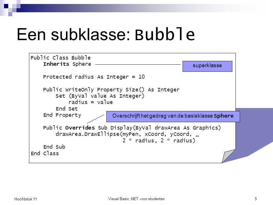 Hoofdstuk 11 Visual Basic.NET voor studenten5 Een subklasse: Bubble Public Class Bubble Inherits Sphere Protected radius As Integer = 10 Public WriteO