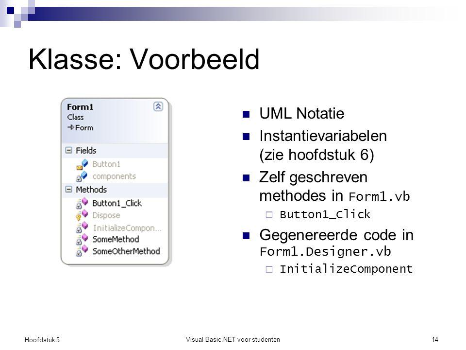 Hoofdstuk 5 Visual Basic.NET voor studenten14 Klasse: Voorbeeld UML Notatie Instantievariabelen (zie hoofdstuk 6) Zelf geschreven methodes in Form1.vb