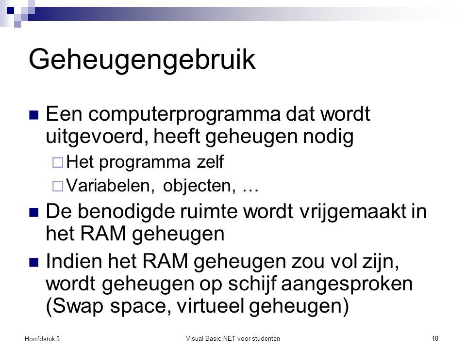 Hoofdstuk 5 Visual Basic.NET voor studenten18 Geheugengebruik Een computerprogramma dat wordt uitgevoerd, heeft geheugen nodig  Het programma zelf 