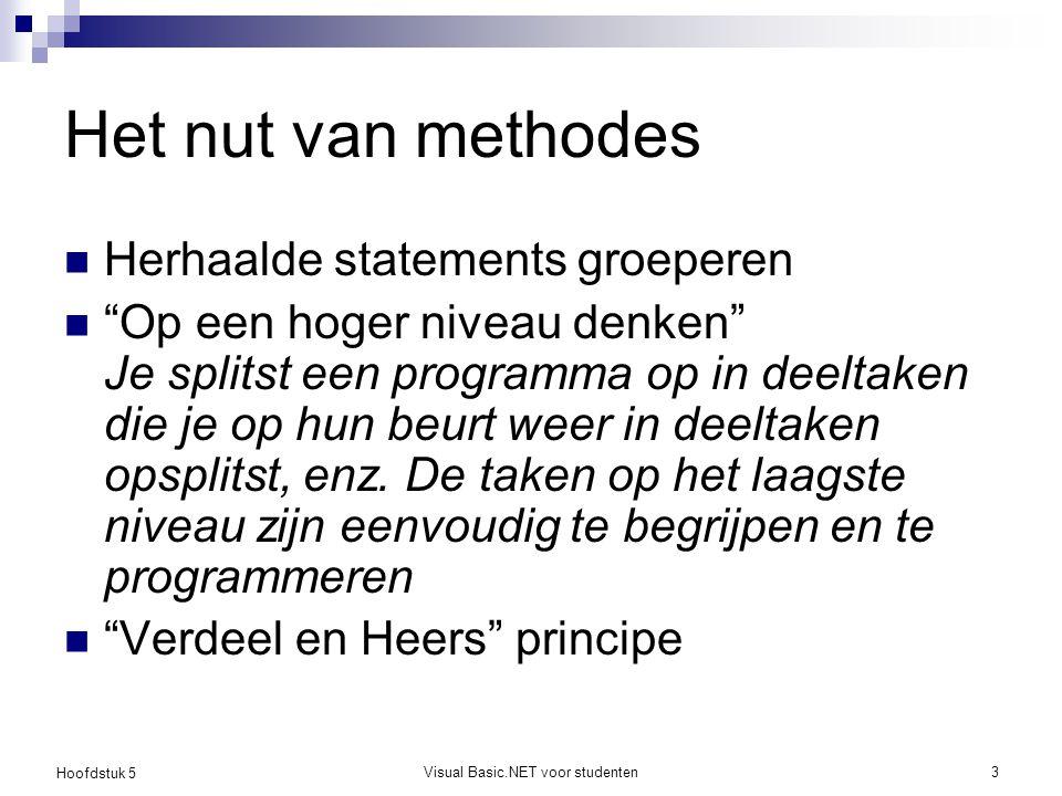 """Hoofdstuk 5 Visual Basic.NET voor studenten3 Het nut van methodes Herhaalde statements groeperen """"Op een hoger niveau denken"""" Je splitst een programma"""