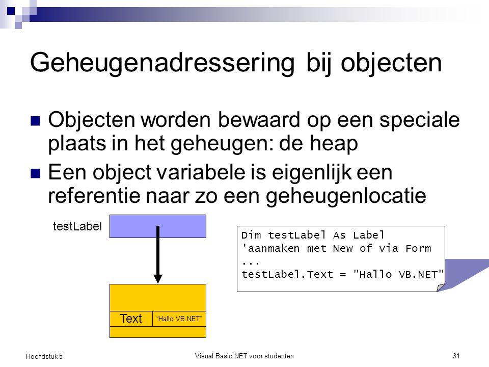 Hoofdstuk 5 Visual Basic.NET voor studenten31 Geheugenadressering bij objecten Objecten worden bewaard op een speciale plaats in het geheugen: de heap