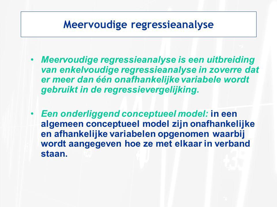 Meervoudige regressieanalyse Meervoudige regressieanalyse is een uitbreiding van enkelvoudige regressieanalyse in zoverre dat er meer dan één onafhankelijke variabele wordt gebruikt in de regressievergelijking.