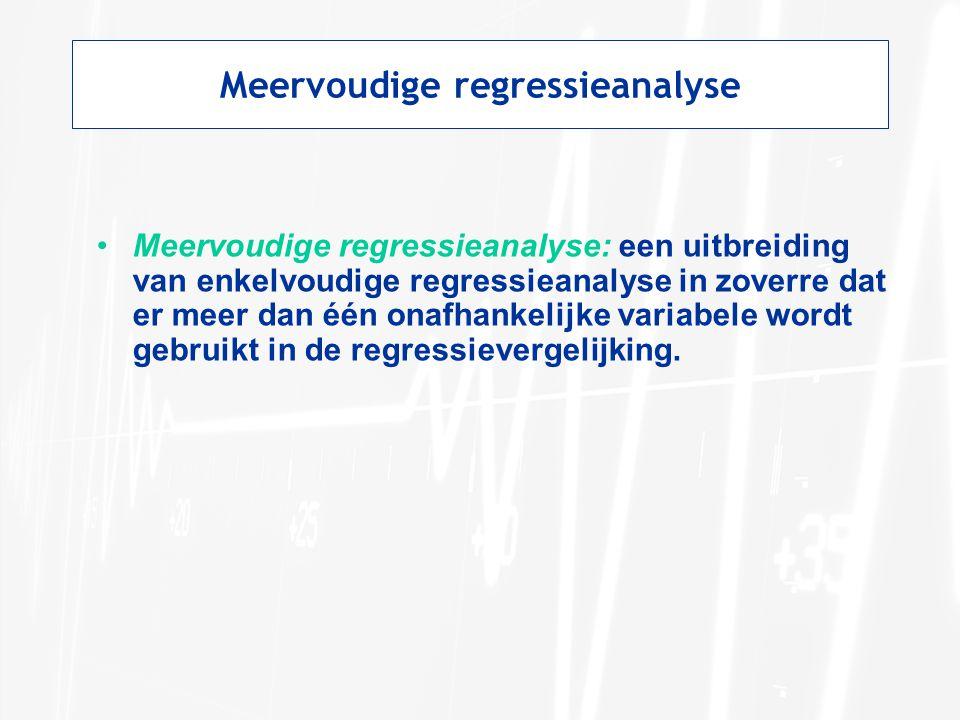 Meervoudige regressieanalyse: een uitbreiding van enkelvoudige regressieanalyse in zoverre dat er meer dan één onafhankelijke variabele wordt gebruikt in de regressievergelijking.