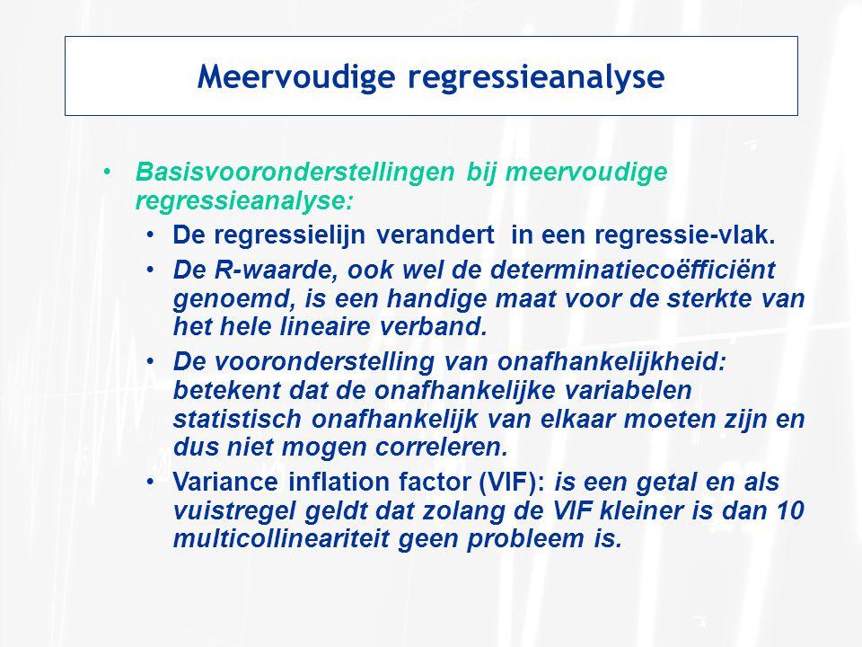 Meervoudige regressieanalyse Basisvooronderstellingen bij meervoudige regressieanalyse: De regressielijn verandert in een regressie-vlak. De R-waarde,