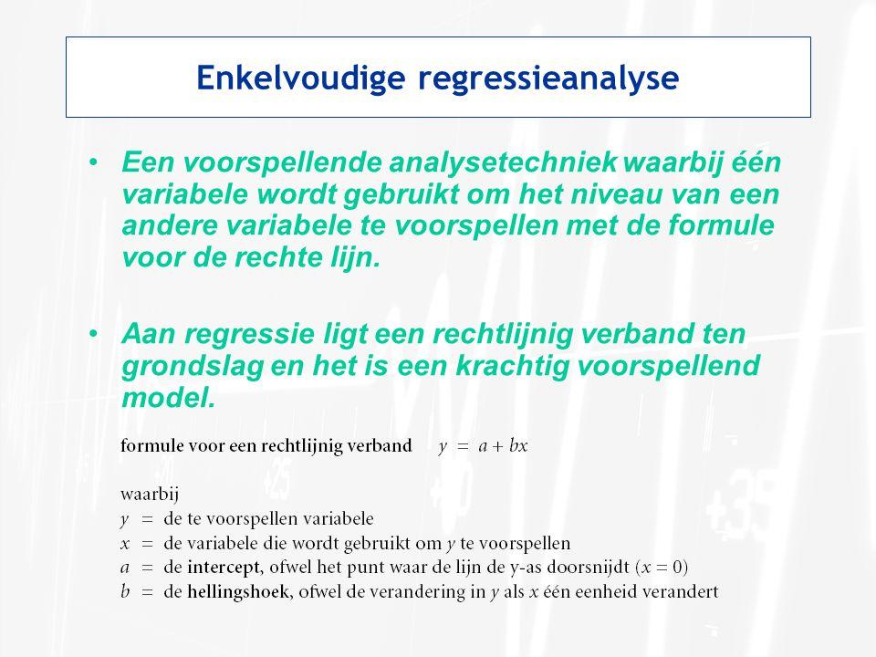 Enkelvoudige regressieanalyse Een voorspellende analysetechniek waarbij één variabele wordt gebruikt om het niveau van een andere variabele te voorspe