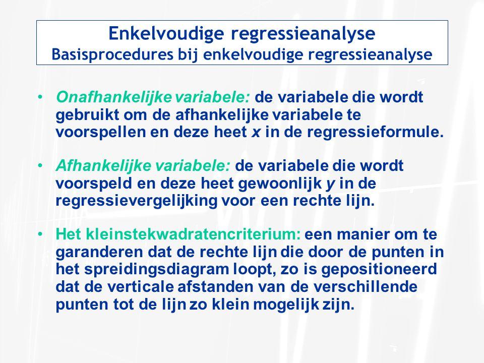 Basisprocedures bij enkelvoudige regressieanalyse Onafhankelijke variabele: de variabele die wordt gebruikt om de afhankelijke variabele te voorspelle