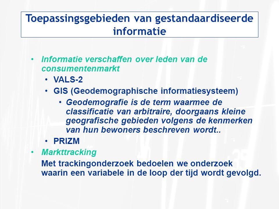 Toepassingsgebieden van gestandaardiseerde informatie Informatie verschaffen over leden van de consumentenmarkt VALS-2 GIS (Geodemographische informat