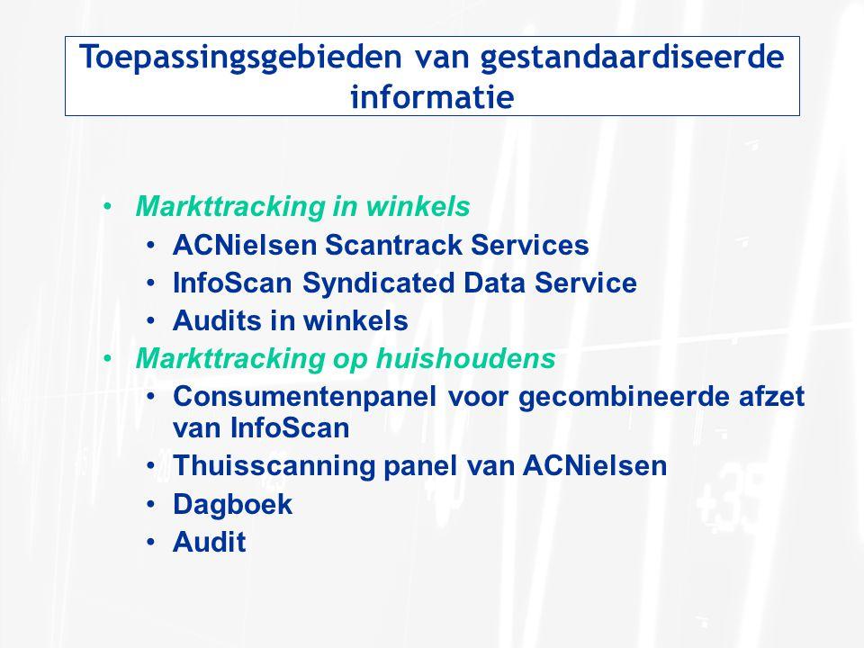 Toepassingsgebieden van gestandaardiseerde informatie Markttracking in winkels ACNielsen Scantrack Services InfoScan Syndicated Data Service Audits in