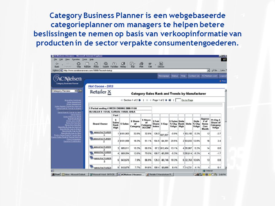 Category Business Planner is een webgebaseerde categorieplanner om managers te helpen betere beslissingen te nemen op basis van verkoopinformatie van