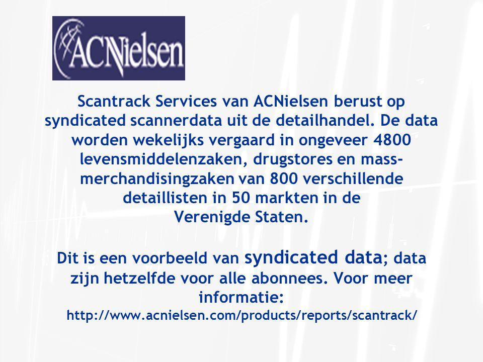 Data afkomstig uit één enkele bron Single source data: data wordt voortdurend geregistreerd bij een panel respondenten om de blootstelling aan promotiemateriaal te meten (doorgaans televisie en promoties in winkels) en het koopgedrag.
