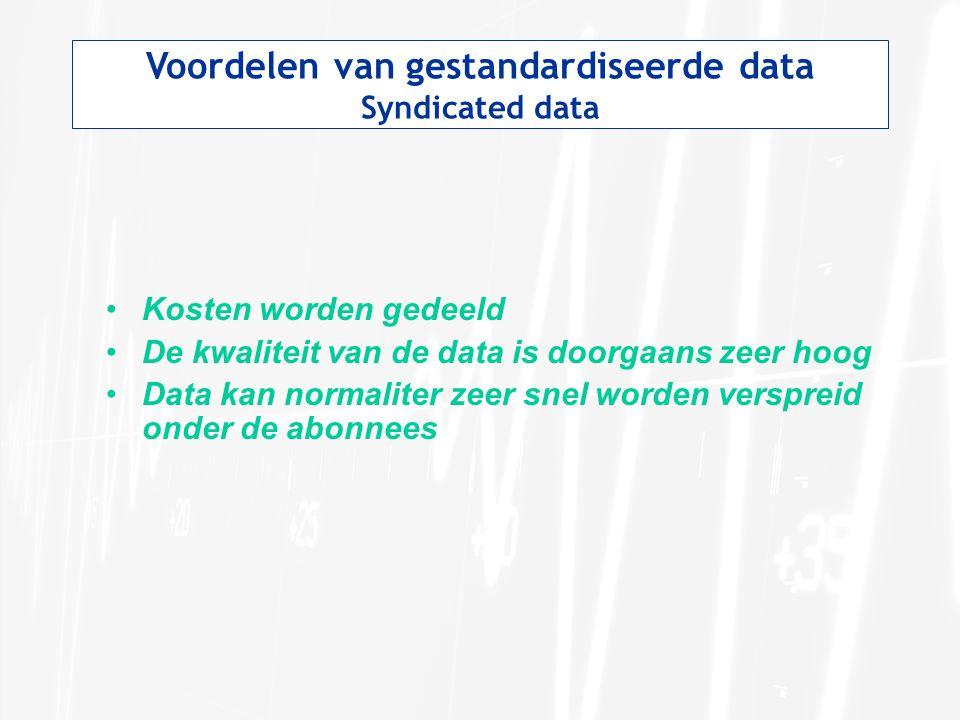 Voordelen van gestandardiseerde data Syndicated data Kosten worden gedeeld De kwaliteit van de data is doorgaans zeer hoog Data kan normaliter zeer sn