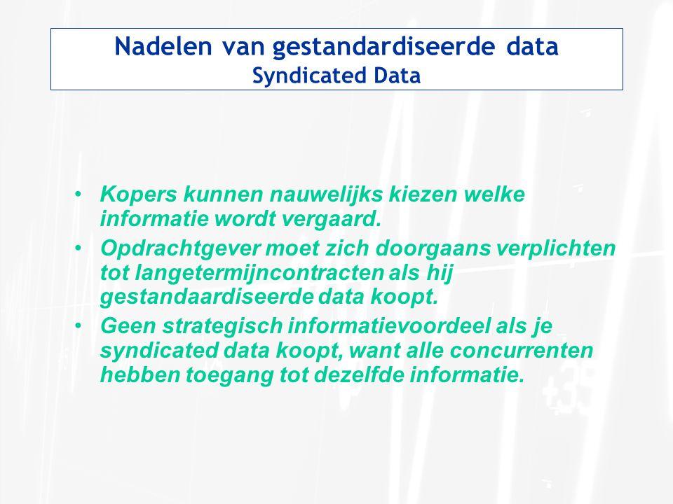 Nadelen van gestandardiseerde data Syndicated Data Kopers kunnen nauwelijks kiezen welke informatie wordt vergaard. Opdrachtgever moet zich doorgaans