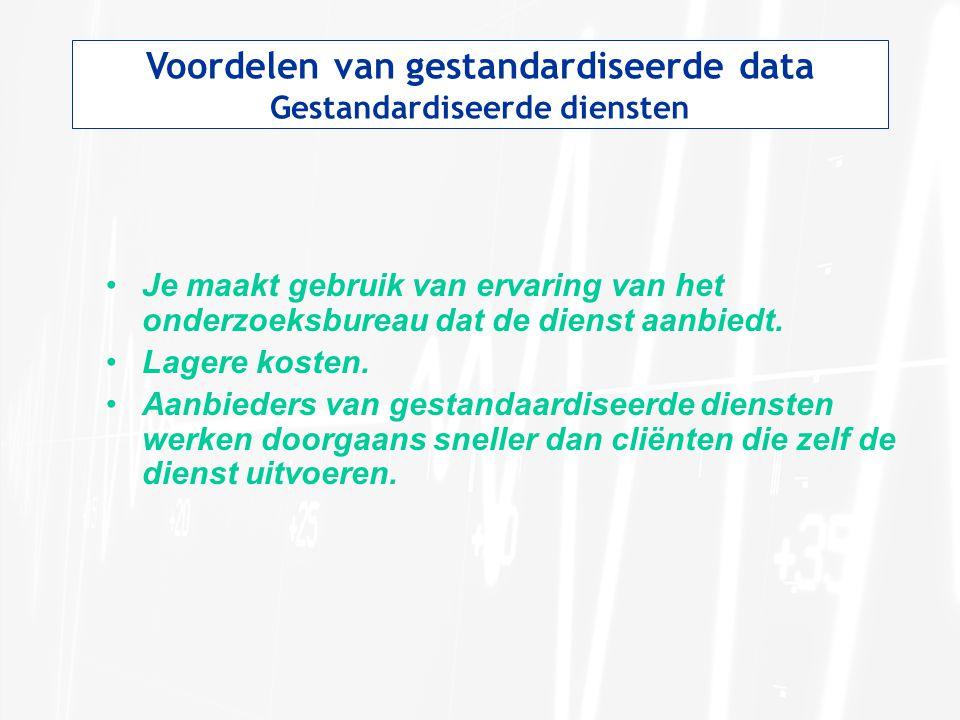 Voordelen van gestandardiseerde data Gestandardiseerde diensten Je maakt gebruik van ervaring van het onderzoeksbureau dat de dienst aanbiedt. Lagere