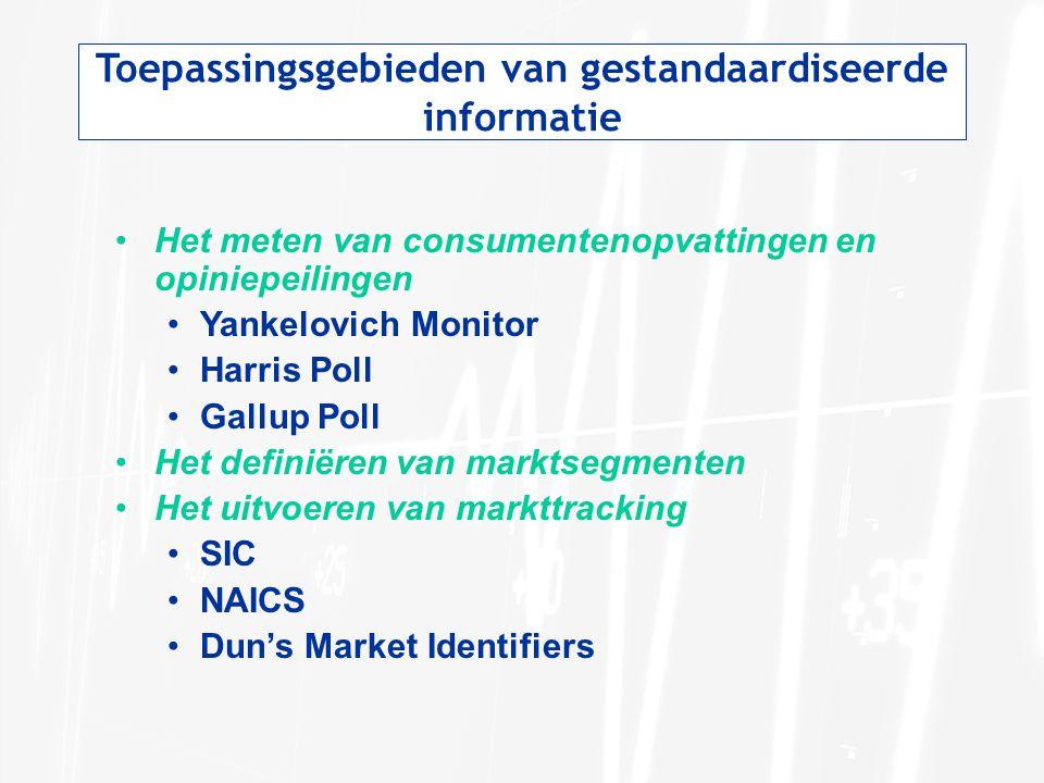 Toepassingsgebieden van gestandaardiseerde informatie Het meten van consumentenopvattingen en opiniepeilingen Yankelovich Monitor Harris Poll Gallup P