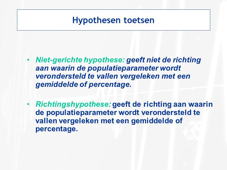 Hypothesen toetsen Niet-gerichte hypothese: geeft niet de richting aan waarin de populatieparameter wordt verondersteld te vallen vergeleken met een g