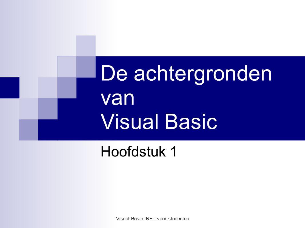 Visual Basic.NET voor studenten Hoofdstuk 1 Visual Basic.NET voor studenten In dit hoofdstuk … Hoe en waarom VB.