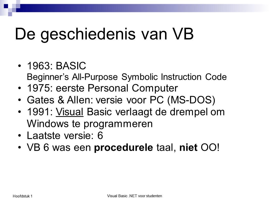 Visual Basic.NET voor studenten Hoofdstuk 1 Visual Basic.NET voor studenten.NET omgeving (framework) Geen versie 7, maar een radicale herziening van het besturingssysteem o Runtime omgeving o Beveiliging o Netwerking o Programmeertalen Men vindt in.NET zeer veel analogieën met de filosofie van Java: o VM, garbage collector, OOP, … Huidige versies: o.NET Framework 3.5 o Visual Basic 2008