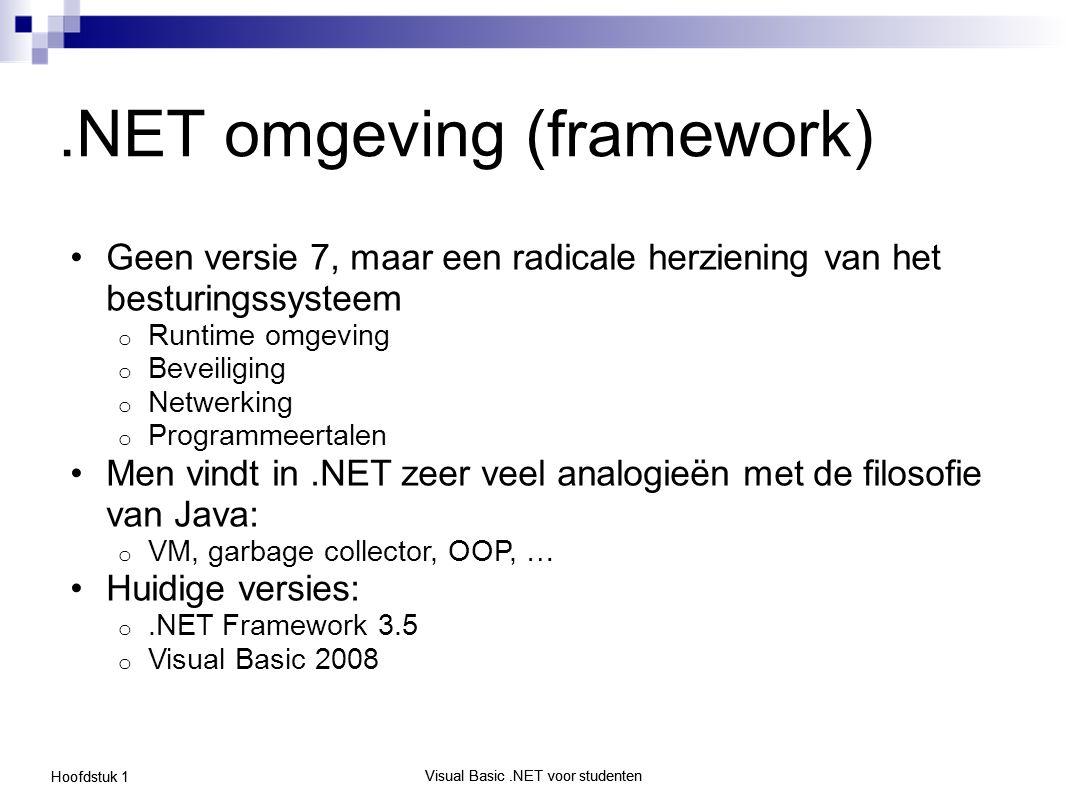 Visual Basic.NET voor studenten Hoofdstuk 1 Visual Basic.NET voor studenten.NET omgeving (framework) Geen versie 7, maar een radicale herziening van h