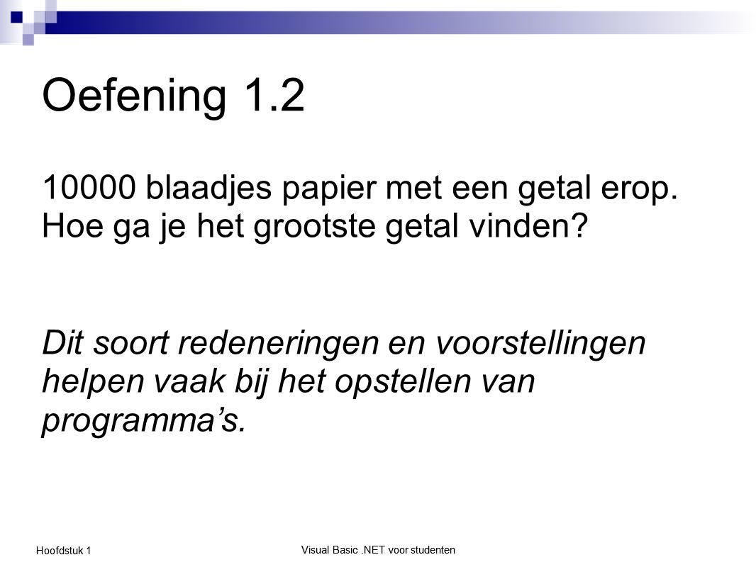 Visual Basic.NET voor studenten Hoofdstuk 1 Visual Basic.NET voor studenten Oefening 1.2 10000 blaadjes papier met een getal erop. Hoe ga je het groot