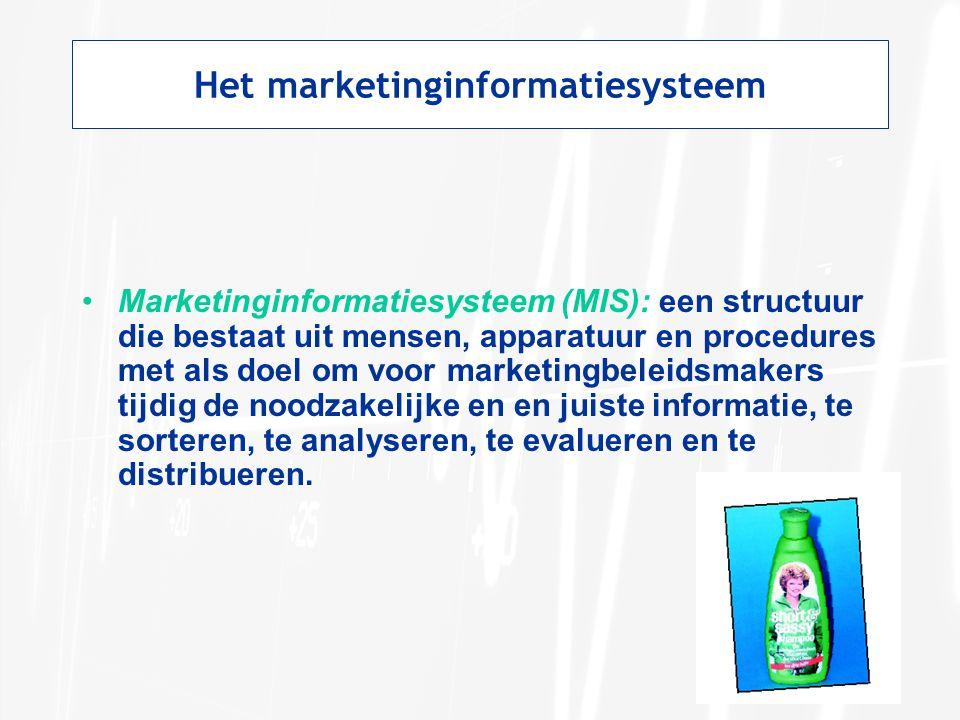Het marketinginformatiesysteem Marketinginformatiesysteem (MIS): een structuur die bestaat uit mensen, apparatuur en procedures met als doel om voor m