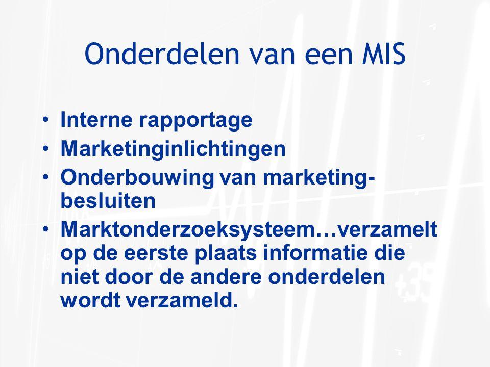Onderdelen van een MIS Interne rapportage Marketinginlichtingen Onderbouwing van marketing- besluiten Marktonderzoeksysteem…verzamelt op de eerste pla