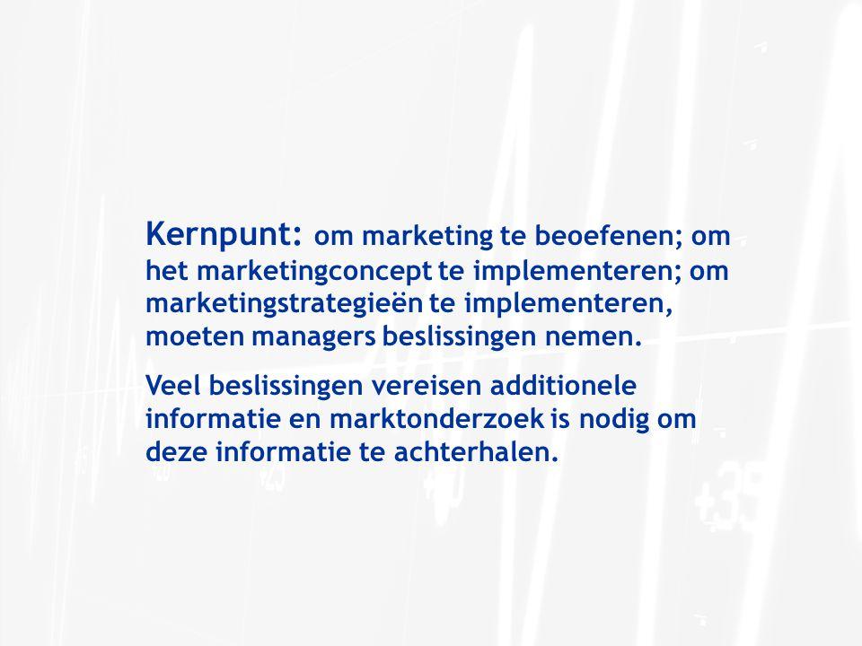 Kernpunt: om marketing te beoefenen; om het marketingconcept te implementeren; om marketingstrategieën te implementeren, moeten managers beslissingen