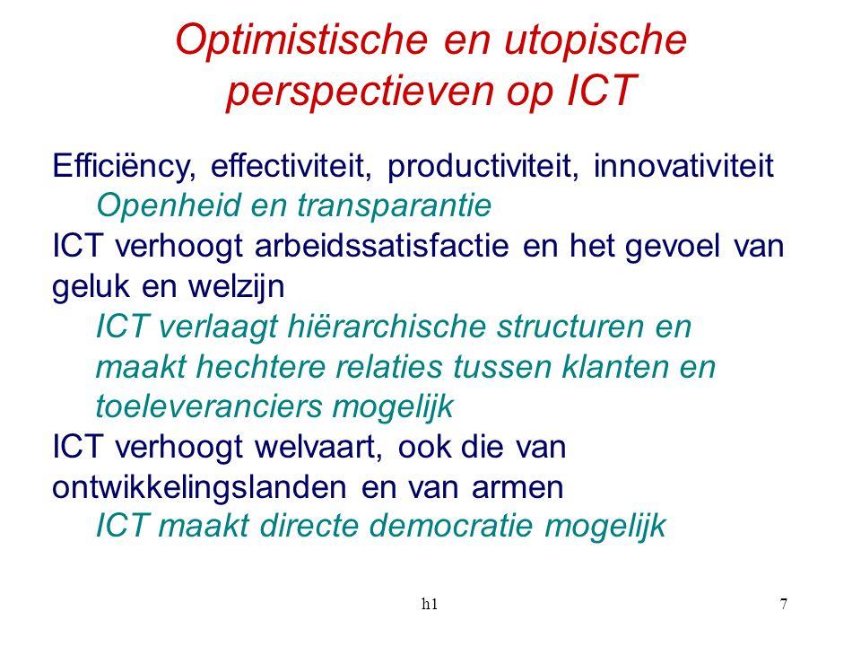 h17 Optimistische en utopische perspectieven op ICT Efficiëncy, effectiviteit, productiviteit, innovativiteit Openheid en transparantie ICT verhoogt a
