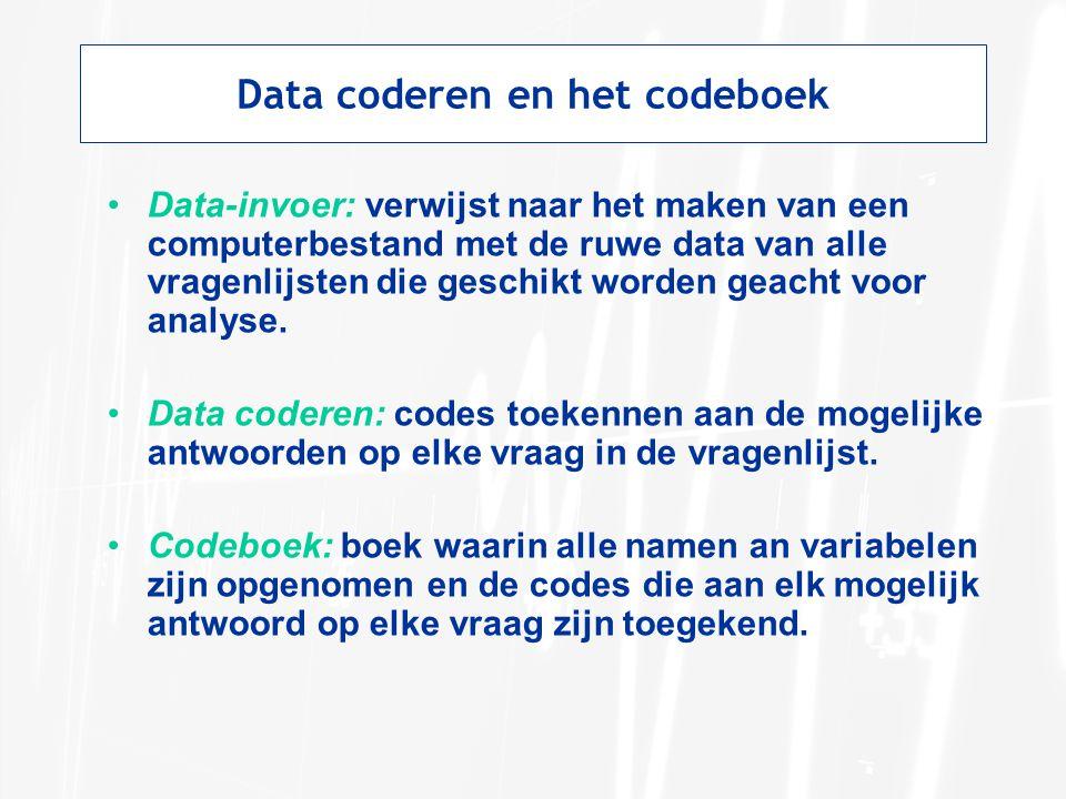 Data coderen en het codeboek Data-invoer: verwijst naar het maken van een computerbestand met de ruwe data van alle vragenlijsten die geschikt worden geacht voor analyse.