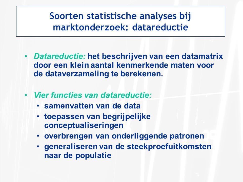 Soorten statistische analyses bij marktonderzoek: datareductie Datareductie: het beschrijven van een datamatrix door een klein aantal kenmerkende maten voor de dataverzameling te berekenen.