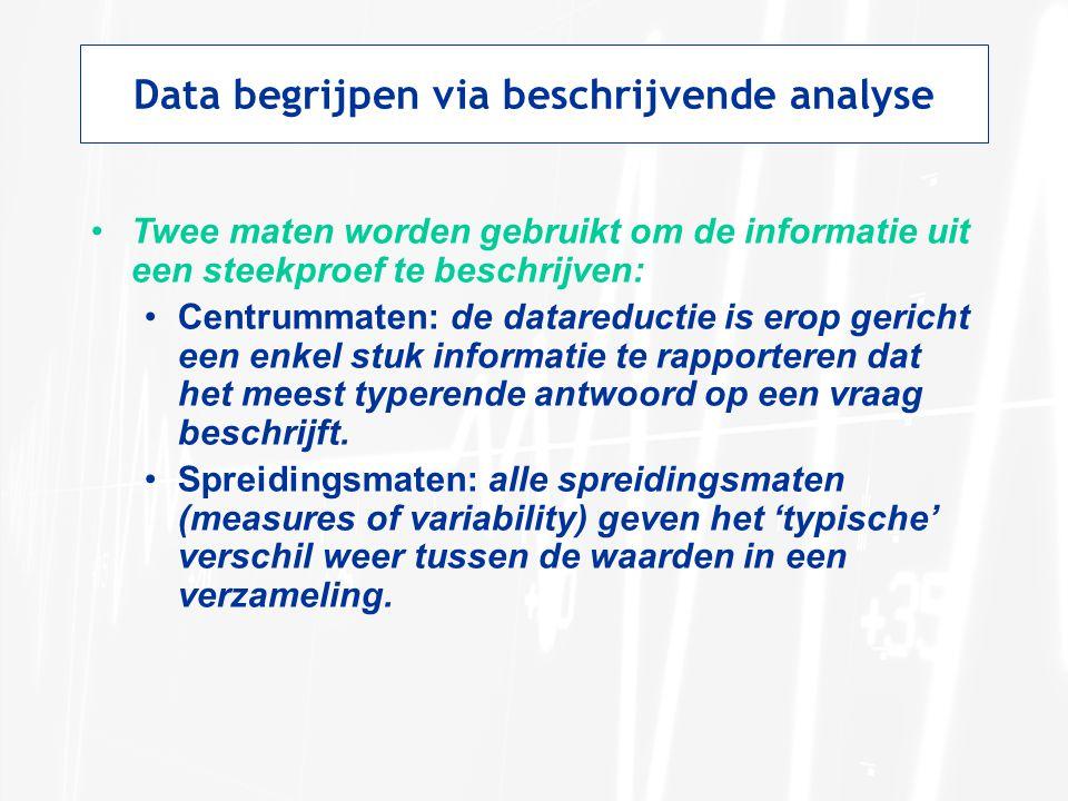 Data begrijpen via beschrijvende analyse Twee maten worden gebruikt om de informatie uit een steekproef te beschrijven: Centrummaten: de datareductie is erop gericht een enkel stuk informatie te rapporteren dat het meest typerende antwoord op een vraag beschrijft.