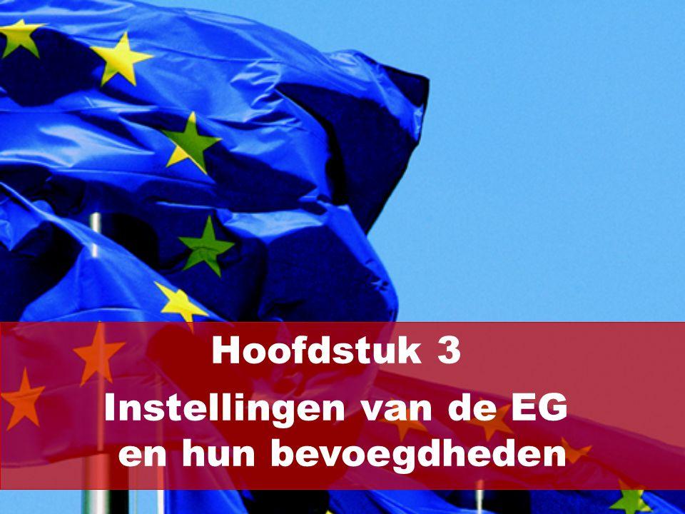 De belangrijkste instellingen van de EG zijn: Raad Commissie Europees Parlement Hof van Justitie (2/18)