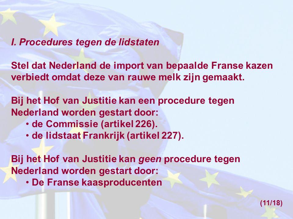 I. Procedures tegen de lidstaten Stel dat Nederland de import van bepaalde Franse kazen verbiedt omdat deze van rauwe melk zijn gemaakt. Bij het Hof v