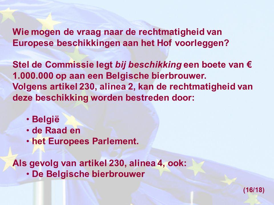 Wie mogen de vraag naar de rechtmatigheid van Europese beschikkingen aan het Hof voorleggen.