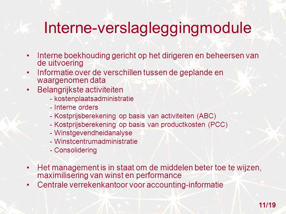 Interne-verslagleggingmodule Interne boekhouding gericht op het dirigeren en beheersen van de uitvoering Informatie over de verschillen tussen de gepl