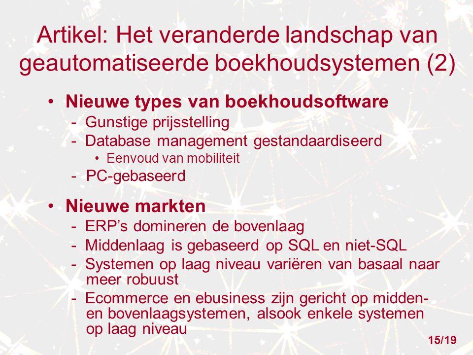 Artikel: Het veranderde landschap van geautomatiseerde boekhoudsystemen (2) Nieuwe types van boekhoudsoftware - Gunstige prijsstelling - Database mana