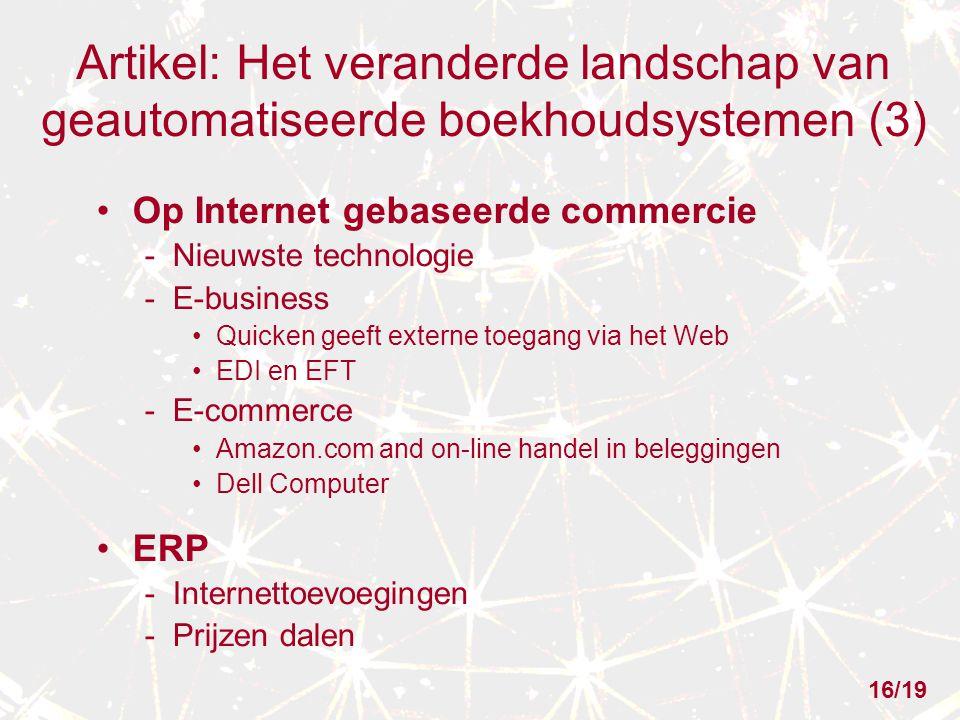 Artikel: Het veranderde landschap van geautomatiseerde boekhoudsystemen (3) Op Internet gebaseerde commercie - Nieuwste technologie - E-business Quick