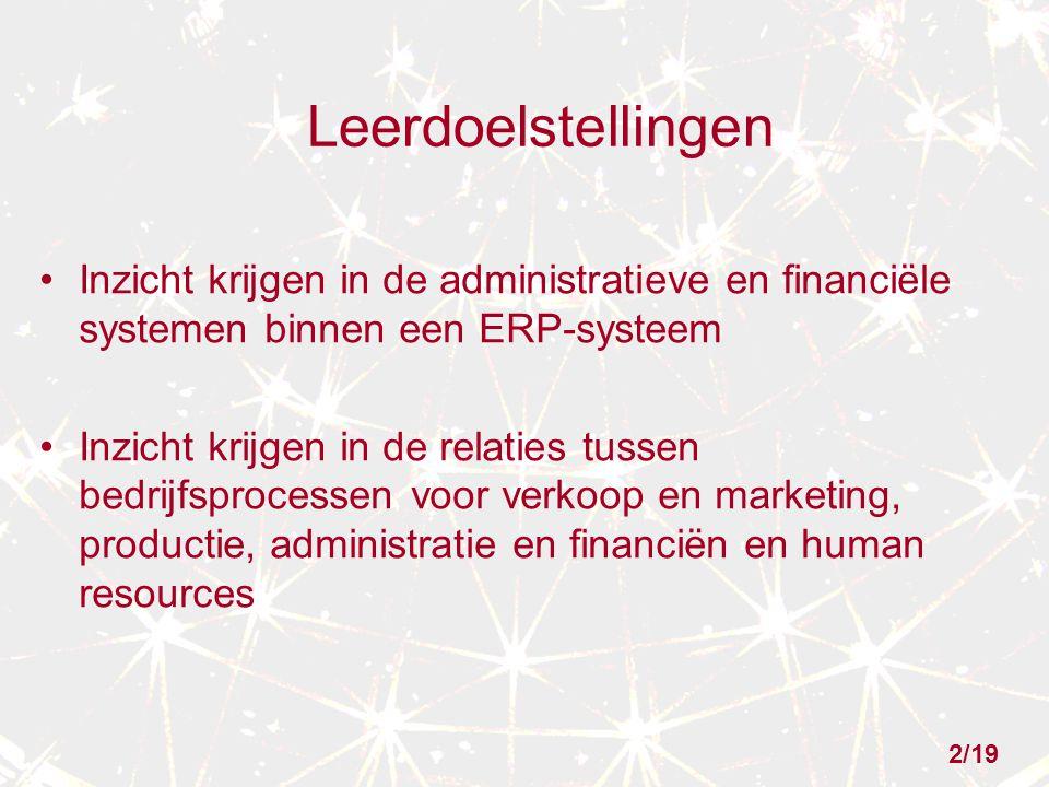 2/19 Leerdoelstellingen Inzicht krijgen in de administratieve en financiële systemen binnen een ERP-systeem Inzicht krijgen in de relaties tussen bedr
