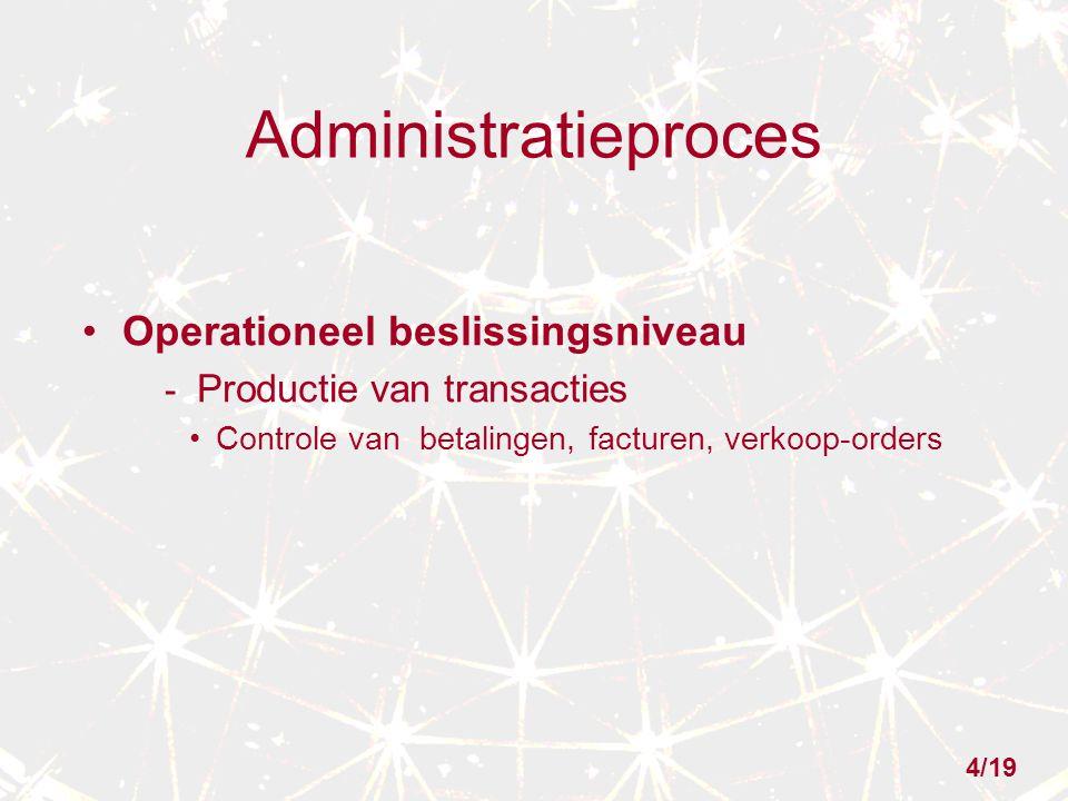 Administratieproces Operationeel beslissingsniveau - Productie van transacties Controle van betalingen, facturen, verkoop-orders 4/19